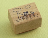 Japanese Cat Wooden Rubber Stamp - Cat Fishing with Sea Gull - Pottering Cat