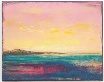 Modern landscape painting, small colorful sunset with bright colors, aqua magenta landscape 8x10