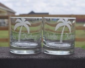 Personalized Etched Palm Tree Rocks Glasses Pair Nautical Wedding  by Jackglass on Etsy