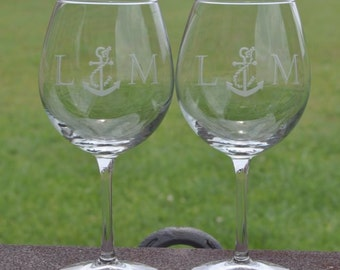 New Etched Anchor and Rope Nautical Theme Personalized Wine Glasses for Toasting, Couples, Wedding Gift, Beach Theme by JackGlass on Etsy