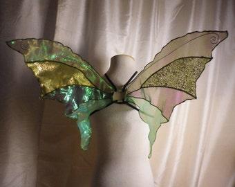 OOAK Unique Green Iridescent Fairy Wings Woodland Fairy Costume