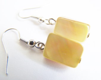 Rainforest Banana: Mother of Pearl Earrings - A beautiful gift - weddings bridesmaids - affordable gifts - beach treasures - preppy - ocean