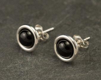 Black Onyx Studs- Black Onyx Earrings- Black Onyx Stud Earrings- Black Stone Earrings- Sterling Silver Studs- Black Stone Post Earrings