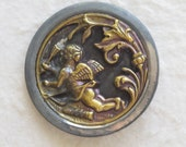 Cupid with Bow Arrow & Quiver Large Victorian Brass Picture Button c.1890