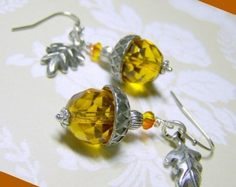 Topaz Acorn Earrings - Silver and Crystal - Oak Leaf - Woodland Wedding - November birthstone - Citrine