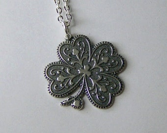 Silver Four Leaf Clover Necklace - LUCKY Charm - Antiqued Silver Shamrock - Lucky Shamrock - Irish Jewelry - St Patrick's Day