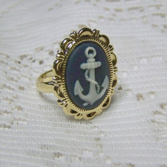anchor cameo ring gold adjustable ring navy and white navy