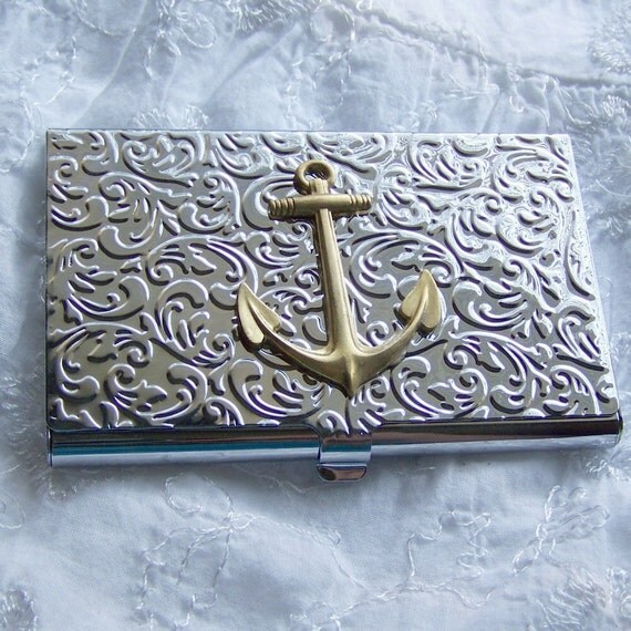 ANCHOR Business Card Holder NAUTICAL Fancy Embossed Brass