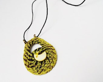 Horse Hair Necklace, Horsehair Jewelry, Coiled Yellow Medallion, Crescent Moon HH17