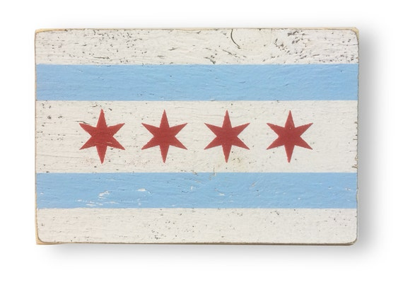 Rustic sign of the Chicago flag - 7x10.5