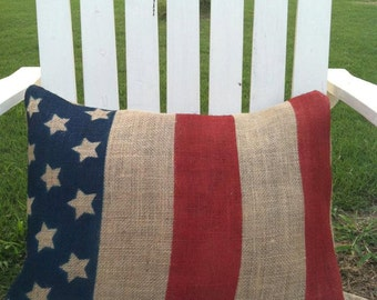 Patriotic Burlap Pillow