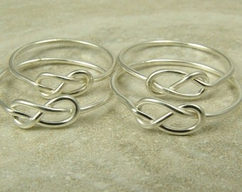 Four Silver Infinity Rings / Bridesmaid Rings / Knot Rings / Sisters Rings / Graduation Gift / Mother Daughters Rings / Tie the Knot Ring