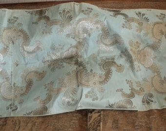 19th C French Metallic Embroidered Silk Fabric Outstanding Rare Ideal for Extraordinary Pillows