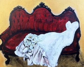 Wedding Gown Painting Custom Acrylic Painting Commission Original Artwork