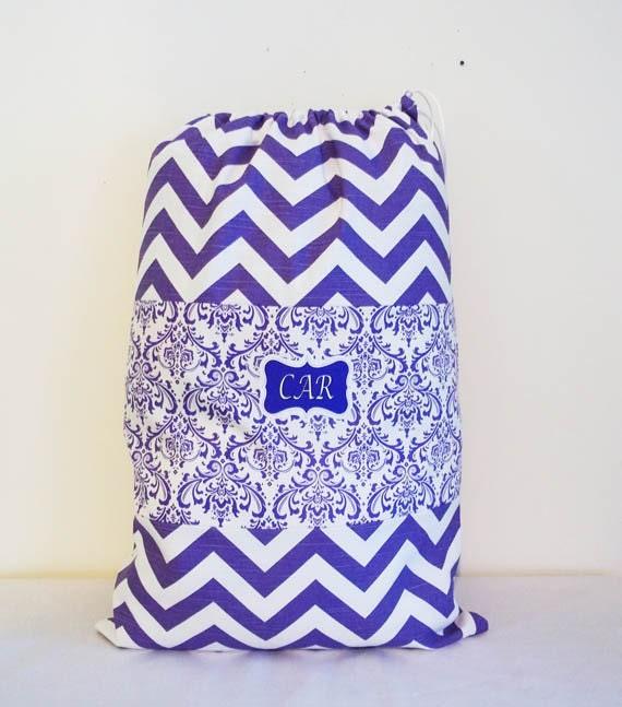 PURPLE CAMP BAG, Laundry Bag, Overnight Bag, Chevron and Damask, 16 X 24 inches, Drawstring Bag, Lingerie Bag