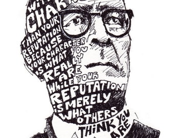 John Wooden Illustrated Quote 8x10 Print