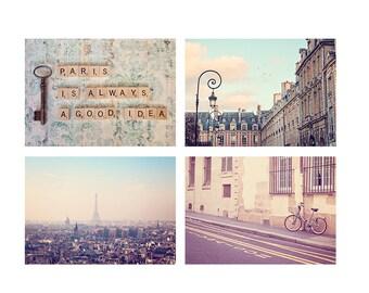 Paris Bedroom Decor Photography Set, Paris Is Always A Good Idea, Eiffel Tower Print, Pastel Vintage Paris Photo Decor, Paris Prints