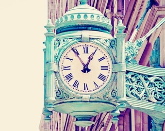 Chicago Print, Mint Green Clock Chicago Architecture Photograph, Vintage Pastels, Urban Home Decor Photo - Telling Time