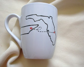 Handpainted State to State Mug, Personalized Mug, Retirement, Wedding