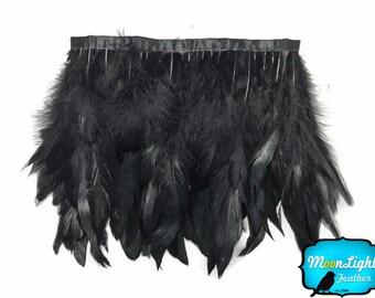 Rooster Trim, 1 Yard - BLACK Rooster Half Bronze Schlappen Feather Trim : 3232
