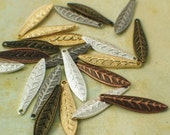 20 Textured Leaf Drops - You Choose Finish - 19mm X 5mm - Handmade Jump Rings Included - 100% Guarantee
