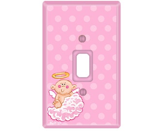 BABY GIRL Pink Angel Switch Plate Cover