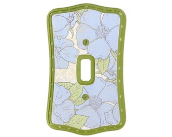 Green and Blue Flowers Light Switch Cover
