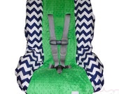 Toddler Car Seat Cover Navy Chevron with Kelly Green