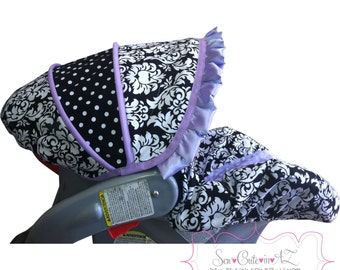 Damask with Lavender Car Seat Cover- Infant to Toddler