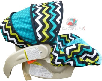 Infant Car Seat Cover Lagoon Chevron with Teal