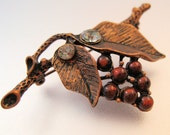 1928 Designer Grape Leaves Vine Brooch Fall Autumm Vintage FREE SHIPPING