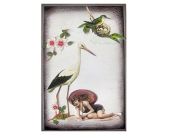 bird art pet collage vintage home decor shabby chic woman beach umbrella tagt team