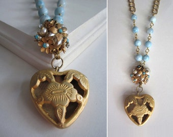 Hollow Heart Necklace Pendant Vintage Assemblage Earrings Pendants and Chain