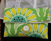 Green and Yellow Flower Crossbody Purse