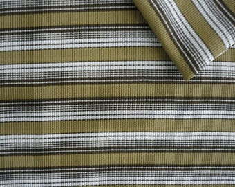 Vintage Fabric 70's Polyester, Olive Green, White, Black, Striped, Textiles