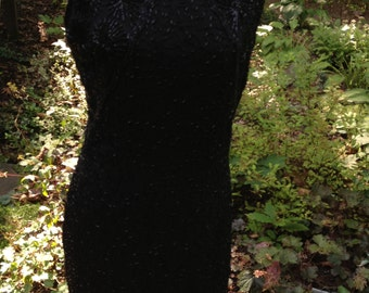 Vintage Sequined and Beaded Black  Silk Dress