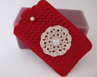 Best Buddy Pouch in Red and Natural and fully lined