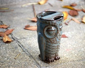 Owl travel mug eco friendly handmade ceramic coffee mug - claylicious