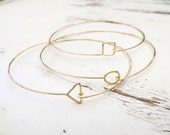 Delicate Gold Geometric Bangles, triangle circle square bracelets, thin hammered bracelets, delicate geometric jewelry, thin gold bangles