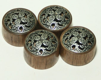 Set of 4 Walnut Guitar Knobs with Pewter Trim (1 inch diameter)