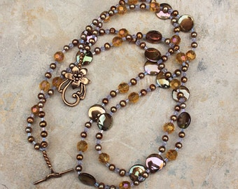Amber Crystal and Gold Pearl Necklace, Double Strand Beaded Necklace