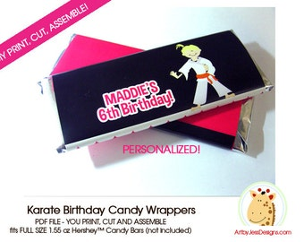 Karate Birthday Party Customized Hershey Candy Bar Wrapper - Karate Boy or Girl