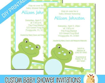 Green Leap Frog Baby Shower Invitations, Print your own PDF file EDITABLE TEXT Instant Download