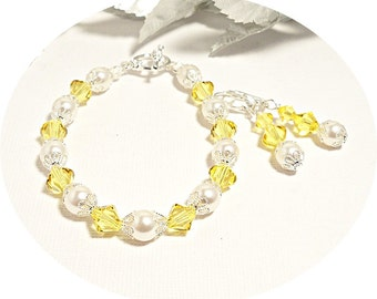 Yellow, Bracelet, Earrings, Bridesmaid Jewelry, Pearl and Crystal, Wedding, Dressy, Bridesmaid Gift, Summer Wedding, Bridal Accessories