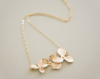 gold orchid necklace - triple cascading orchid, bridal, wedding, gift, layered necklace