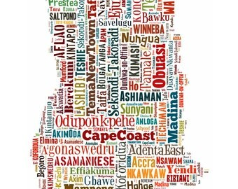 Ghana Map Typography Color Map Poster Print