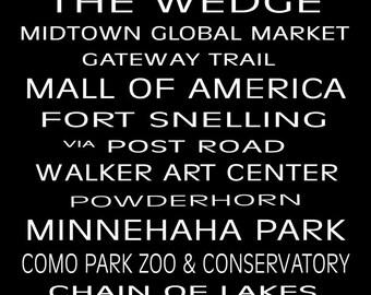 "Minneapolis St Paul Subway Sign Bus Scroll 13"" x 19"" Poster Print"