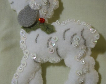 Bucilla Felted Lamb #1 from the DRUMMER BOY COLLECTION Christmas Ornament