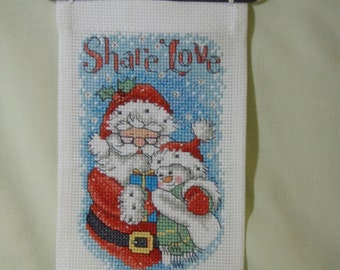 Cross stitched SHARE LOVE CHRISTMAS Banner