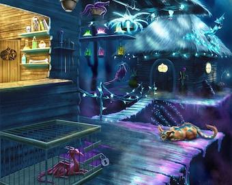 Wizard's Keep - Magical Treehouse Art Print